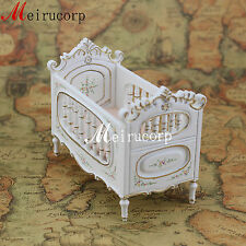Fine 1/12 scale dollhouse miniature furniture beautiful painted white baby's bed