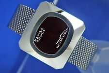 Vintage NOS Ravisa Electric System Jump Hour Wind Up Watch 1970s Swiss LED Style