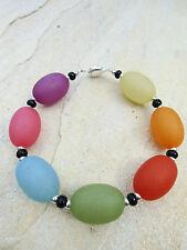 Damen Armband Polaris- Perlen in Regenbogen Farben matt silber 21,5 cm NEU