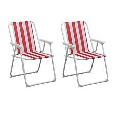 Portatile Pieghevole a basso Campeggio Patio Spiaggia Sedia Furniture-Red Stripe x2