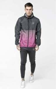 SikSilk Mens Fade Windrunner - Grey & Pink Medium