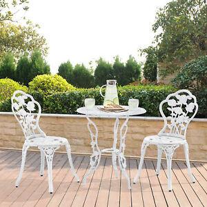 [Casa.pro] Mesa+ 2 Sillas Hierro Fundido Antiguo Blanco Bistro Set de Jardín