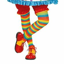 Rainbow a righe aderente Circo Clown Colorato calzino Costume Accessorio