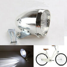 Retro 3 LED Bicycle Bike Chrome Visor Bullet Headlamp Headlight Front Tail Light