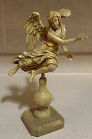 """Unique Flying Angel Decor With Wooden Base 12"""" Tall"""