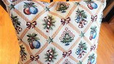 """16"""" Square Tapestry Holiday Christmas Theme Throw Accent Pillow Candy Canes Tree"""