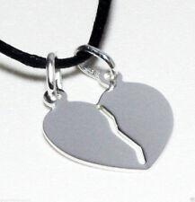 Pendant Heart Broken Dolce Half 925 silver + 2 Cords + Incision