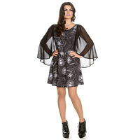 Hell Bunny Spin Doctor Lucille Black Occult Wicca Witch Gothic Mini Party Dress