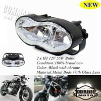 Universal Oval Twin Headlight Custom Wave Headlamp For Halrey Streetfighter