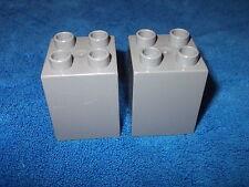 Lego Duplo Ritterburg 2 X Stein aus 4777 + 4785 + 4779  4er Noppen hoch Grau Rar