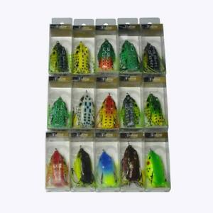 15Pcs Topwater Hollow Body Rubber Frog Fishing Lures 6cm/2.3'' With Retail Box