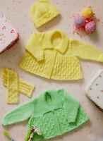 "Baby Collar Cardigans Hat & Scarf 12"" - 22"" DK Knitting Pattern"