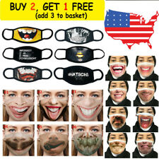 Unisex Funny Face Mask Reusable 3D Print Funny Expression Face Cover Masquerade