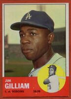 1963 Topps #80 Jim Gilliam Near Mint+ Los Angeles Dodgers FREE SHIPPING