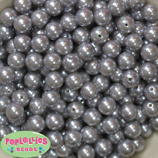 12mm Gray Acrylic Faux Pearl Bubblegum Beads Lot 40 pc.chunky gumball