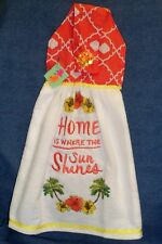 """**NEW** Handmade """"Home is Where the Sun Shines"""" Hanging Kitchen Hand Towel #1307"""