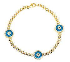 Sterling Silver 925 CZ Turkish Nazaar Blue Evil Eye Bracelet Yellow Gold