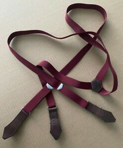 Dsquared2 Slim Suspenders Maroon Brown Leather Trim Adjustable Made in Italy