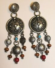 Big Southwest Earrings Chandelier Dangle Boho Silver Tone Festival Large Bold