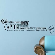 Life is like a Camera INSPIRATIONAL Wall Decal MOTIVATIONAL Wall Art Quote Decor