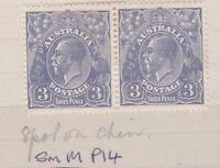 G350) Australia 1926 3d KGV Blue, sml. Multi wmk. Perf 14, Die 1a ACSC 106A