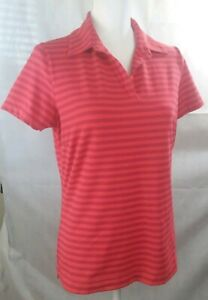 Nike Golf womens medium s/s Polo shirt  coral striped dri fit