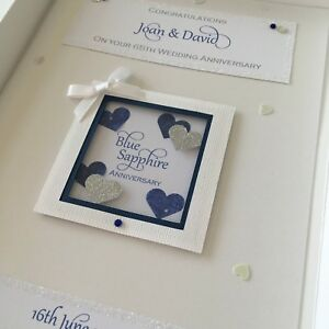 Personalised Boxed 65th Blue Sapphire Anniversary Card, Swarovski crystals