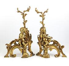 Pair Continental Gilt Bronze Chenet Putti / Cherubs, c1900. Foliate Accents
