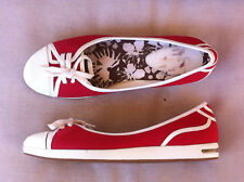 COLE HAAN  NIKE AIR RED & WHITE CANVAS FLATS SIZE: 8 NEAR NEW