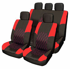 Opel Vauxhall Corsa RED & BLACK Cloth Car Seat Cover Full Set Split Rear Seat