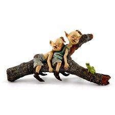 Miniature Twin Garden Pixies Napping on Tree Log T 4384 Fairy Gnome Garden
