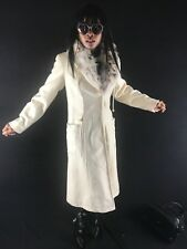 Hooded Designer Couture Bisang ivory white Cashmere Fur collar coat Jacket S 0-4