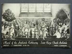 Cumbria MURAL OF THE AMBLESIDE RUSHBEARING Saint Mary's Church - Old RP Postcard