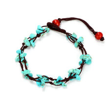 Handmade Natural Shell Turquoise Beads Wax Rope Woven Anklet Gifts LH