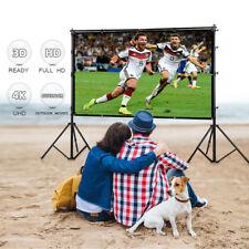 "100"" 16:9 Projector Projection Screen Manual Pull Down Wall Mounted Cinema Movie"