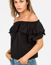 SIR THE LABEL Chessa Black Strapless Ruffled Off-Shoulder Top - size 1