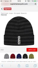 Supreme Black/Grey Charcoal Vertical Logo Striped Beanie