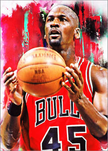 2021 Michael Jordan Bulls Basketball 2/25 Art ACEO Print Card By:Q