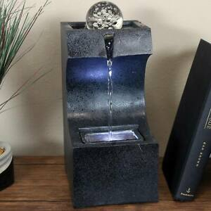 Sunnydaze Soothing Matrix Indoor Tabletop Water Fountain - LED Light - 12-Inch