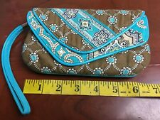 Vera Bradley New! Mini Purse Brown Teal White Floral Quilted Small Wristlet