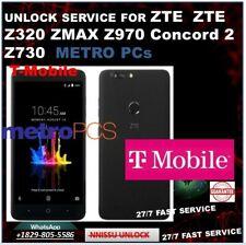 SIM UNLOCK SERVICE FORMETRO PCs T-Mobile ZTE Z320 ZMAX Z970 Concord 2 Z730 100%
