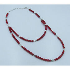 2 Tier .925 Sterling Silver Genuine Red Italian Coral Necklace