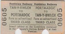 3rd Class return train ticket Tan-y- Bwlch to Portmadoc (Festiniog railway)
