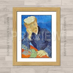 Vincent van Gogh framed print: Dr Gachet. 400mm x 325mm. Textured canvas paper.