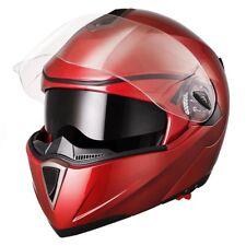 DOT Flip up Modular Full Face Motorcycle Helmet Dual Visor Race Motocross Red L