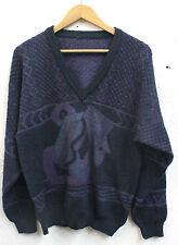 """Vintage 1980s Men's Jumper Sweater Purple Size M-L 44"""" Retro Indie"""