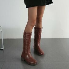 Women's Mid-Calf Riding Boots Block Low Heels Vintage Round Toe Shoes US4.5-13