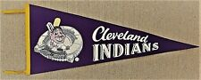 "1960's Cleveland Indians, Chief Wahoo Over Baseball Stadium, Large 30"" PENNANT"