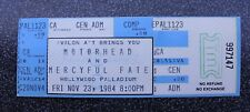 Rare 1984 Motorhead No Remorse Tour Concert Ticket Never Used Hollywood KLOS
