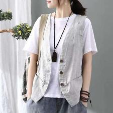 Women Linen Check Textured Vest Top Waistcoat Gilet Casual Shirt Sleeveless